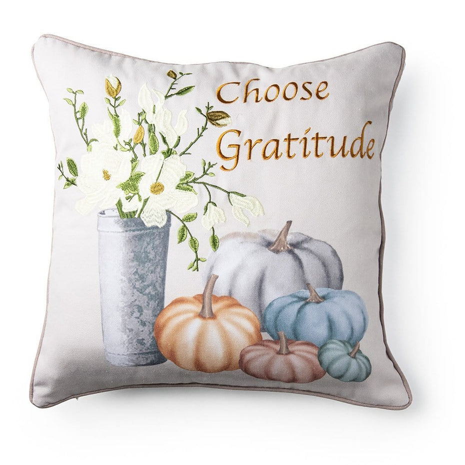 Choose Gratitude Fall Harvest 20 Inch Decorative Fall Throw Pillow
