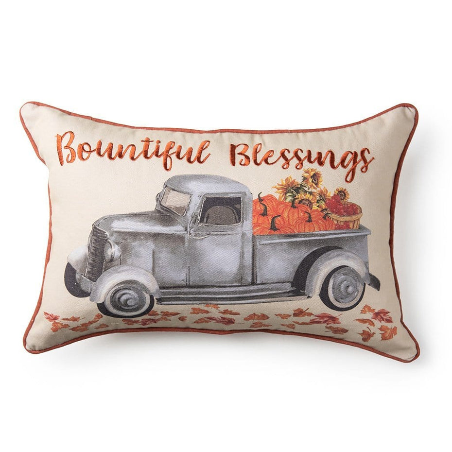 Bountiful Blessings Truck Fall Harvest Decorative Fall Throw Pillow