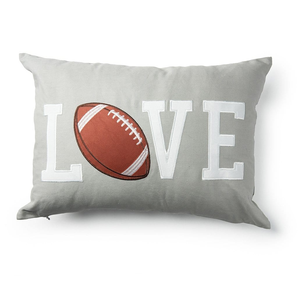 Love with Football Inset Decorative Throw Pillow - 18 x 18