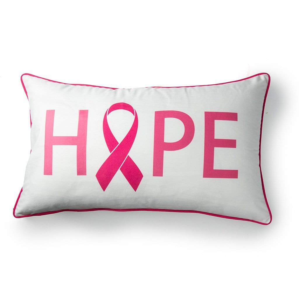 Hope with Pink Ribbon Breast Cancer Awareness Throw Pillow - 14 x 24