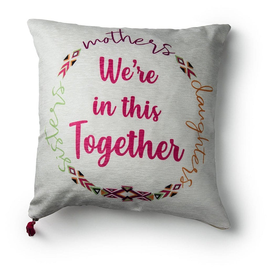 """We're In this Together"" Breast Cancer Awareness 20 Inch Velour Throw Pillow Pink White"