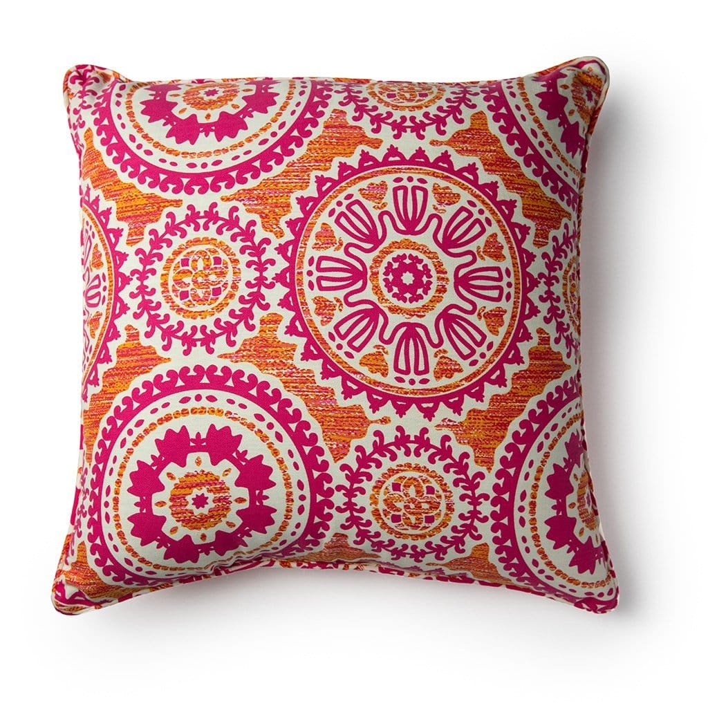 Floral Mandala Breast Cancer Awareness 20 Inch Throw Pillow - 20 x 20