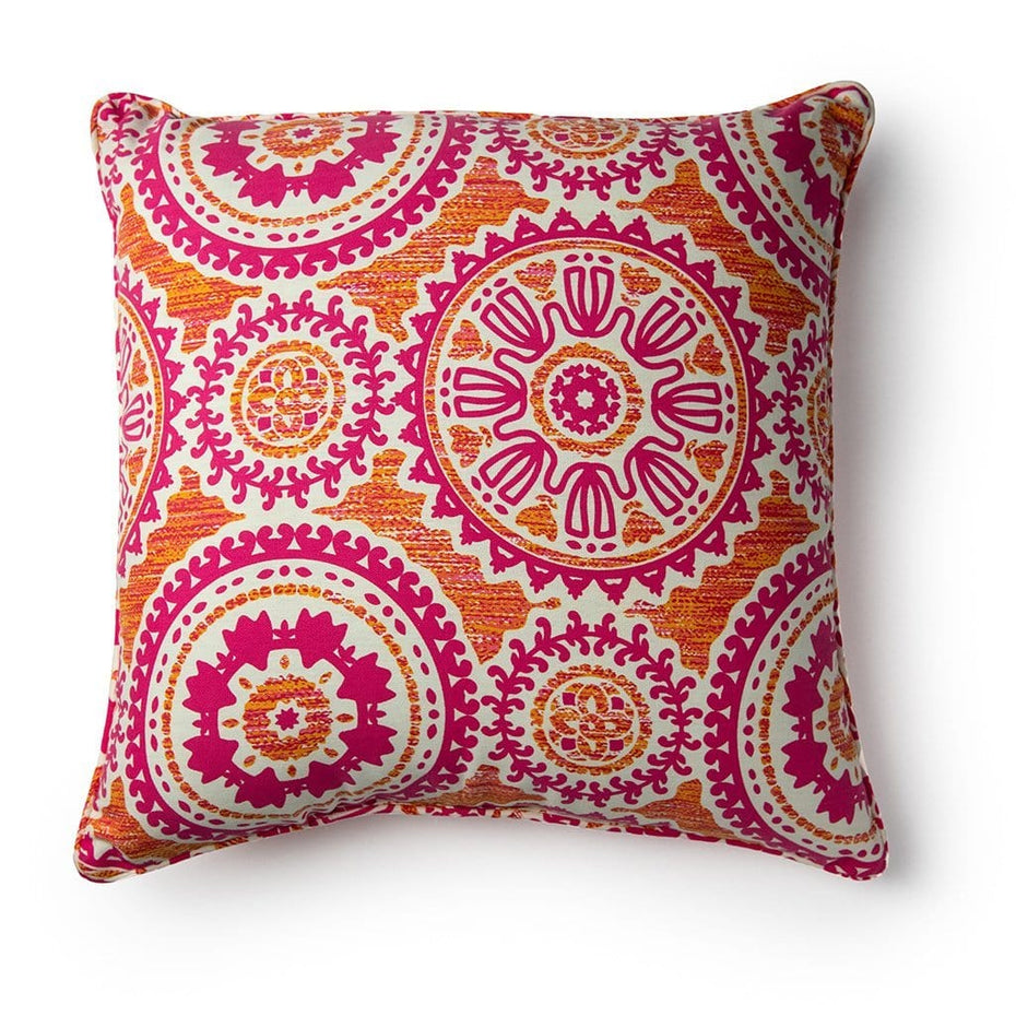 Floral Mandala Breast Cancer Awareness 20 Inch Throw Pillow Pink