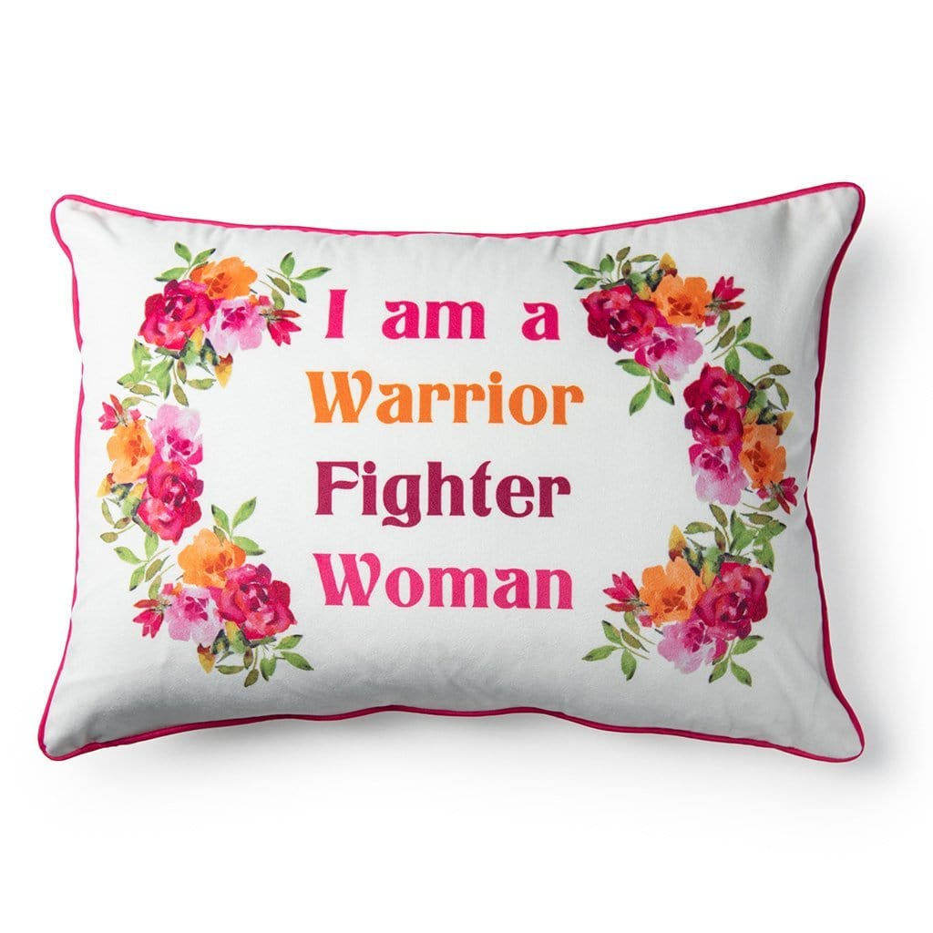 I'm a Warrior Breast Cancer Awareness Oblong Throw Pillow - 14 x 20