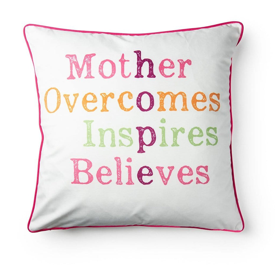 Mother and Hope Cross Hatch Breast Cancer Awareness 20 Inch Throw Pillow Pink