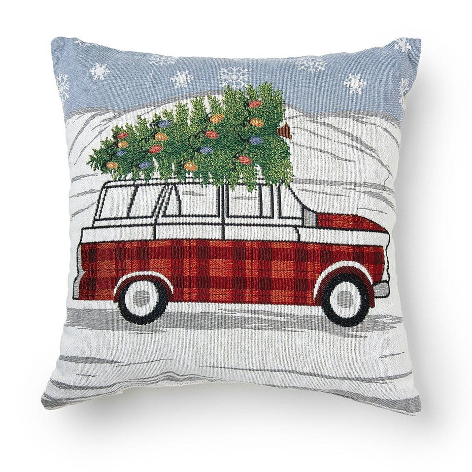 Car Hauling Tree 18 Inch Christmas Throw Pillow