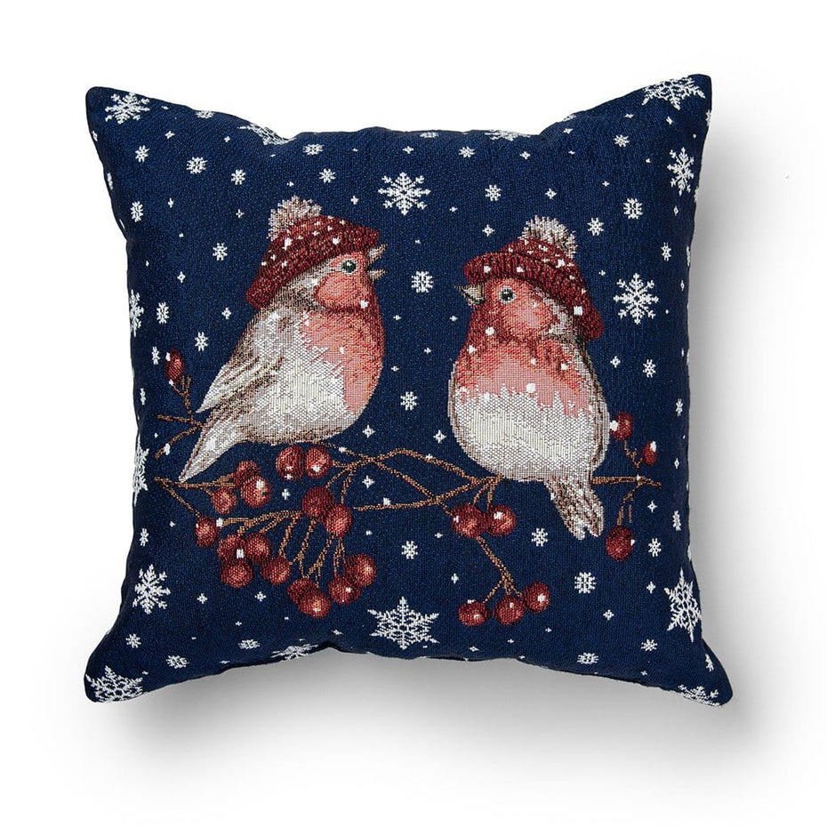 Holiday Birds 16 Inch Decorative Christmas Throw Pillow