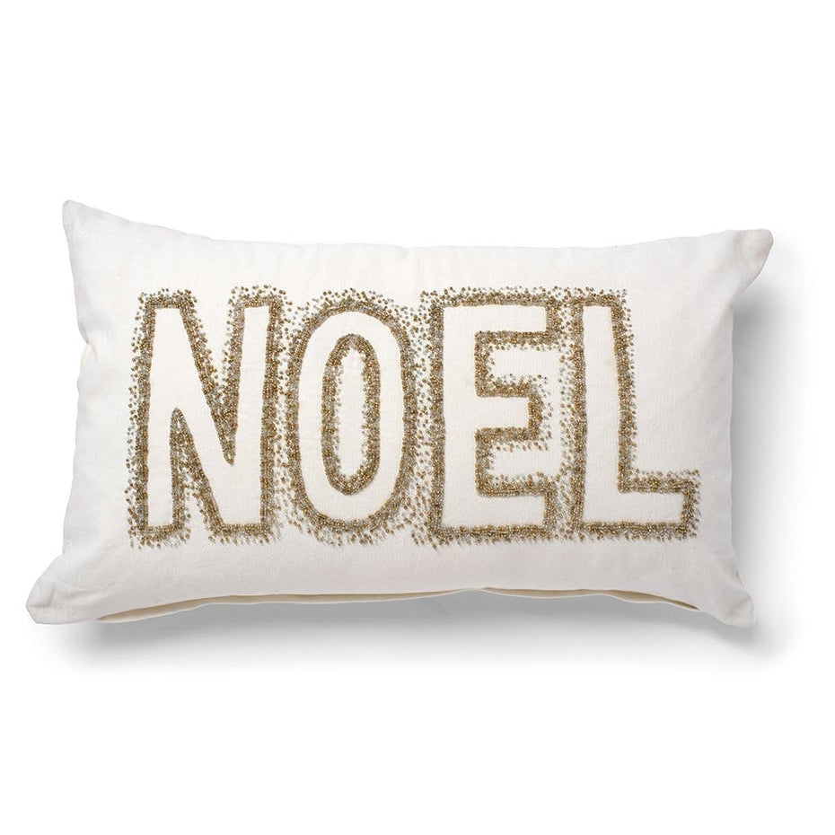Noel Embellished with Beads Throw Pillow
