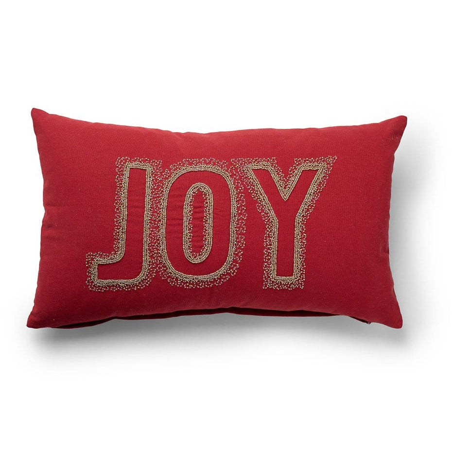 Joy Embellished with Beads Holiday Throw Pillow Red