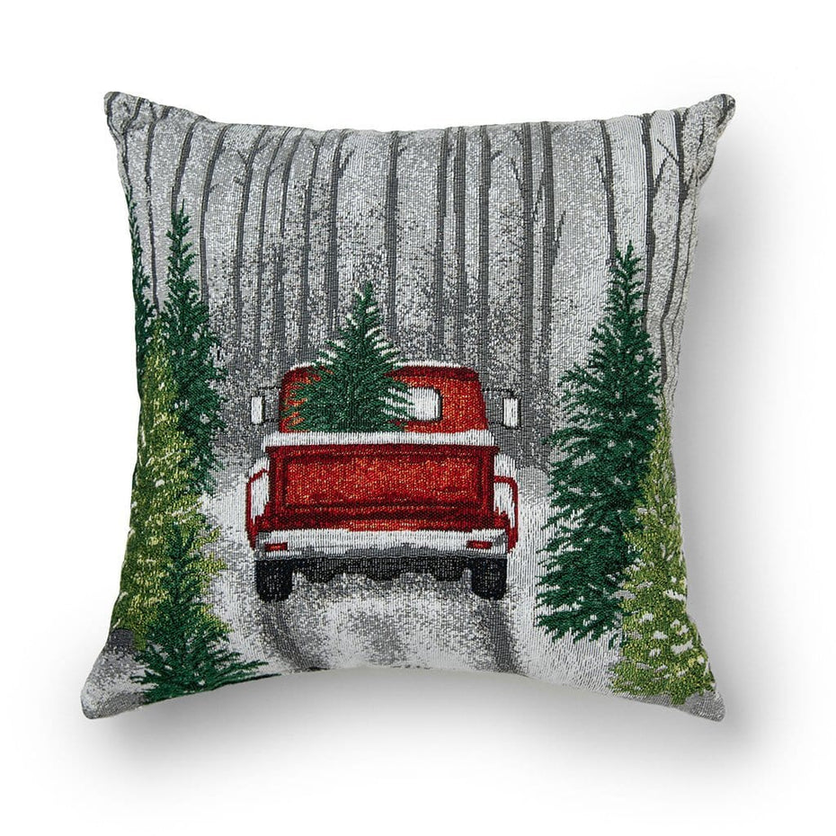Truck in Winter Forest 18 Inch Christmas Throw Pillow