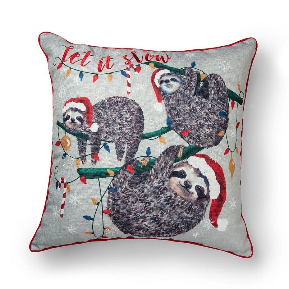 Let It Slow Sloth 20 Inch Christmas Throw Pillow