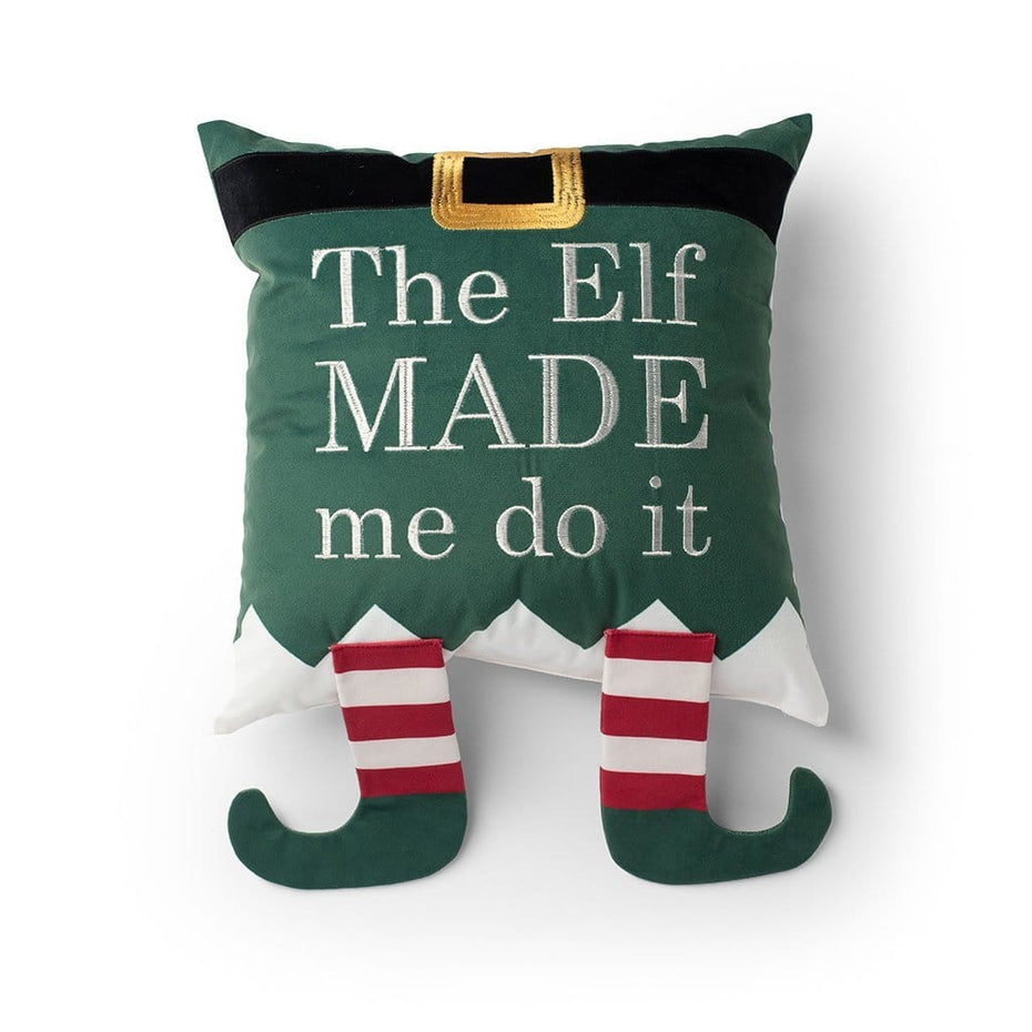 The Elf Made Me Do It Christmas Throw Pillow Green