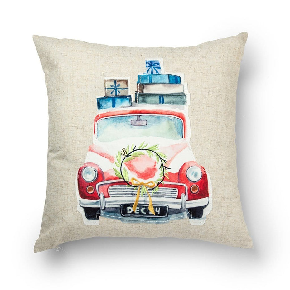 Vintage Car with Gifts 20 Inch Christmas Throw Pillow