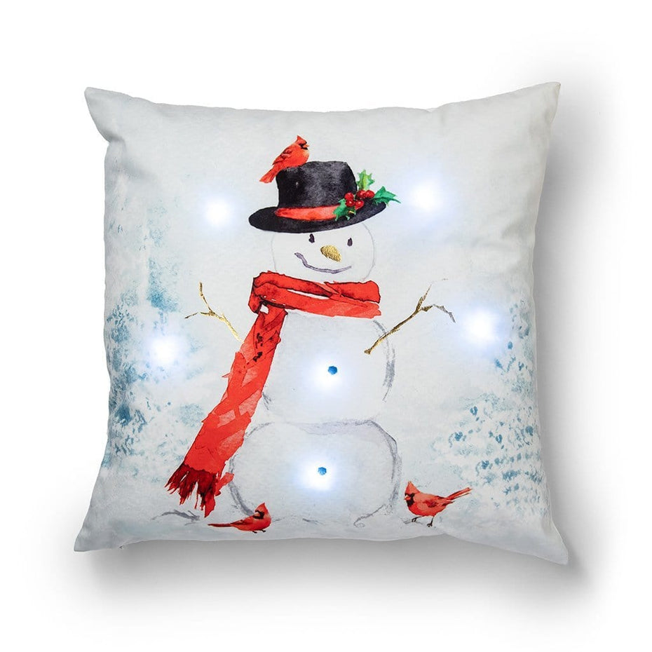 Light Up Snowman 20 Inch Decorative Holiday Throw Pillow
