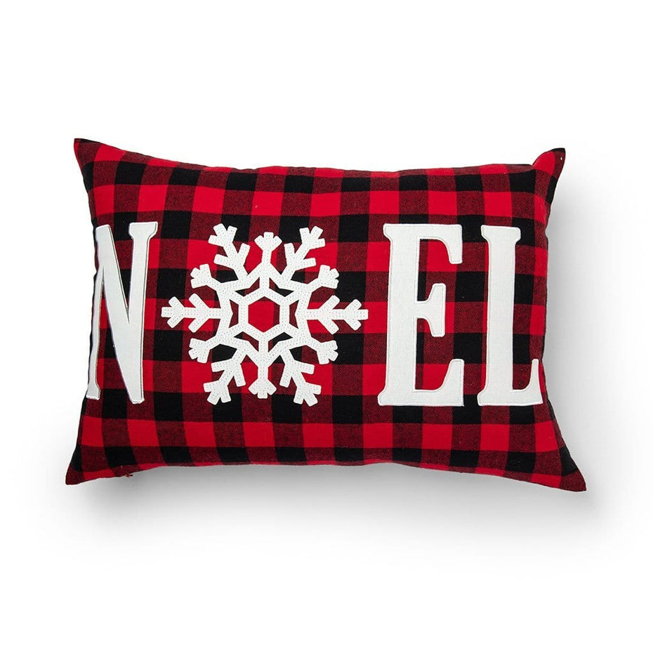Noel on Buffalo Plaid Decorative Holiday Throw Pillow