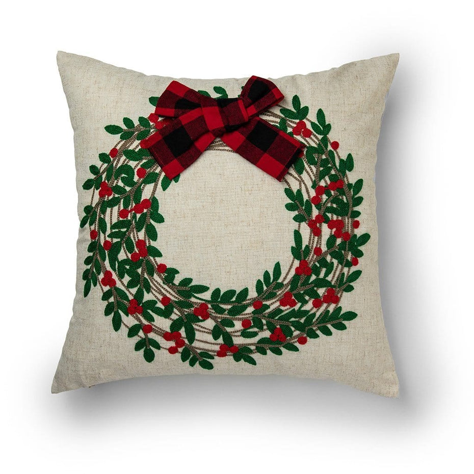 Embroidered Wreath with 3D Plaid Bow 18 Inch Throw Pillow