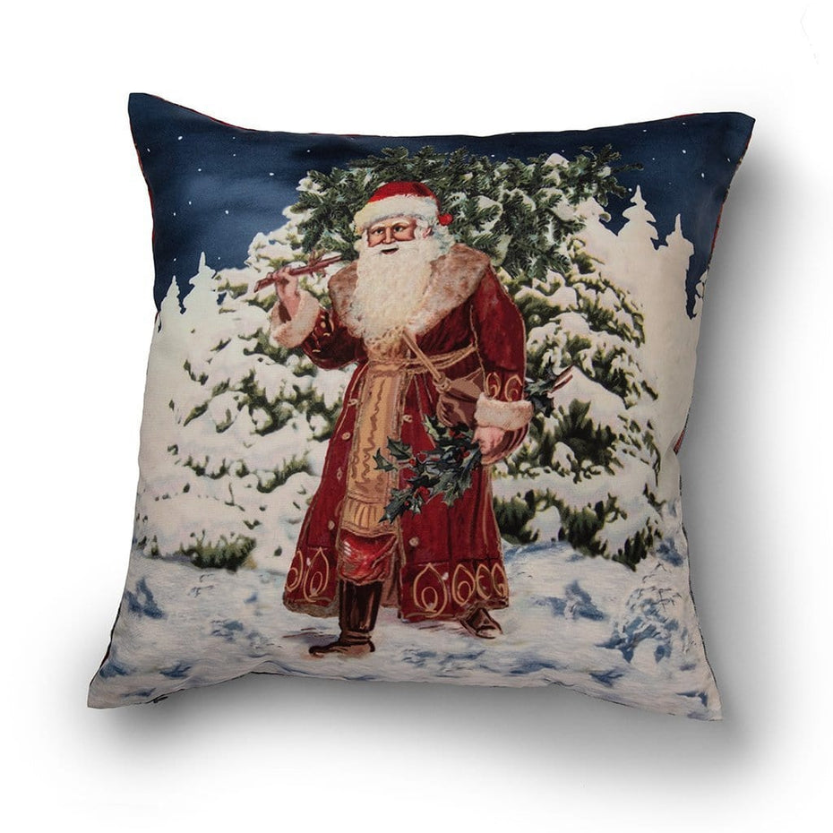 Vintage Santa and Reversible Plaid 20 Inch Decorative Throw Pillow