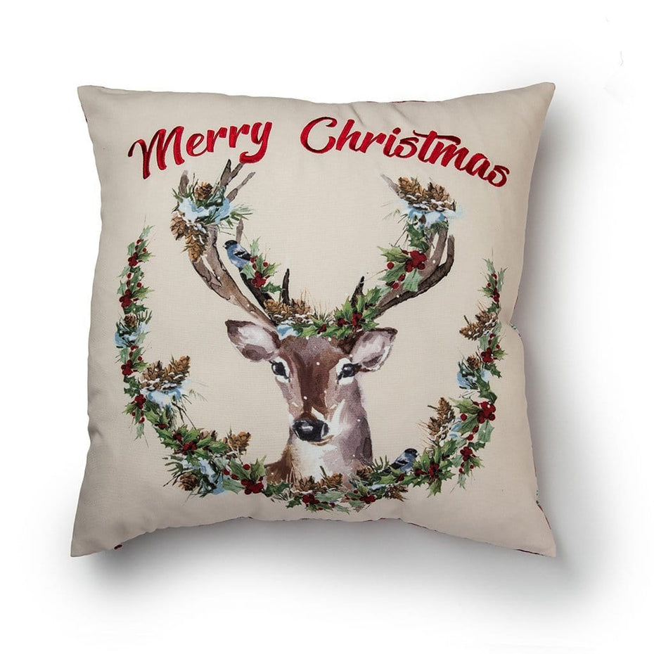 Merry Christmas Reindeer Reversible Plaid 20 Inch Holiday Throw Pillow