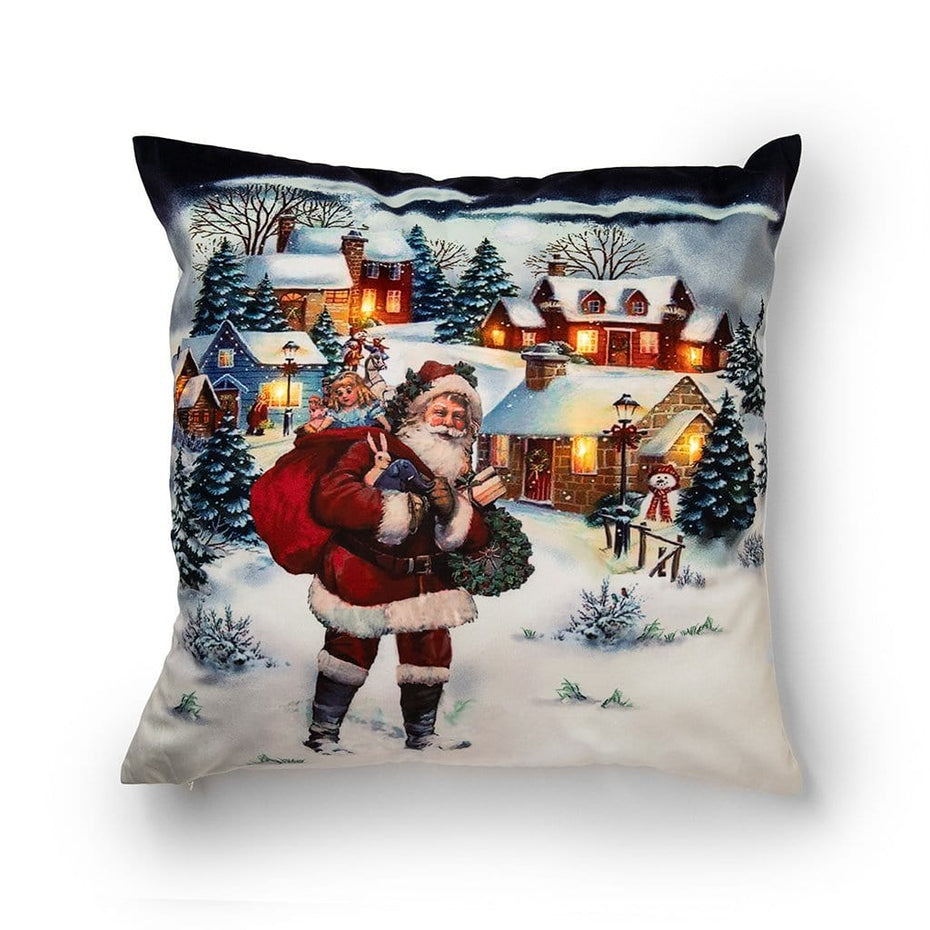 Light Up Winter Village and Santa 20 Inch Christmas Throw Pillow