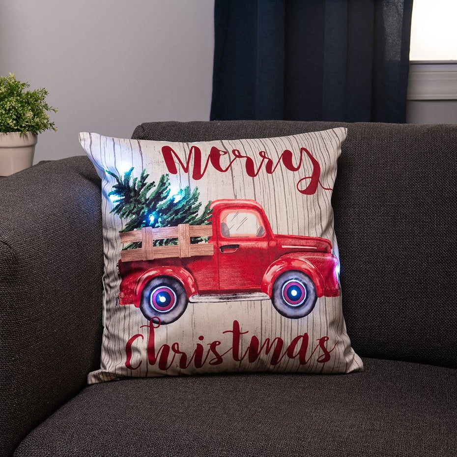 Merry Christmas Light Up Vintage Red Truck 20 Inch Throw