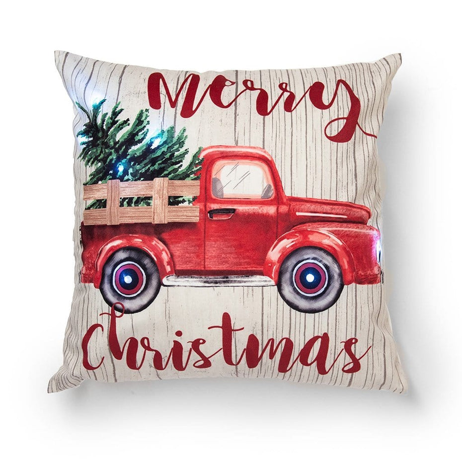 Merry Christmas Light Up Vintage Red Truck 20 Inch Holiday Throw Pillow