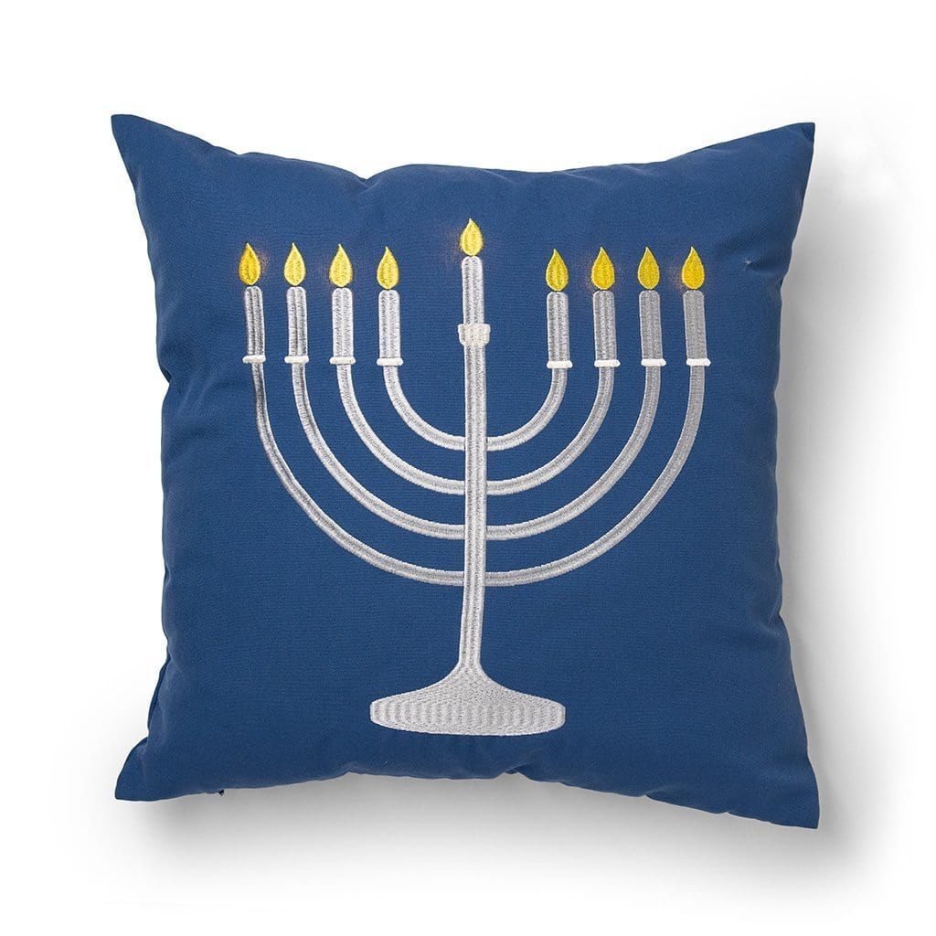 Light Up Menorah 20 Inch Hanukkah Throw Pillow - 20 x 20