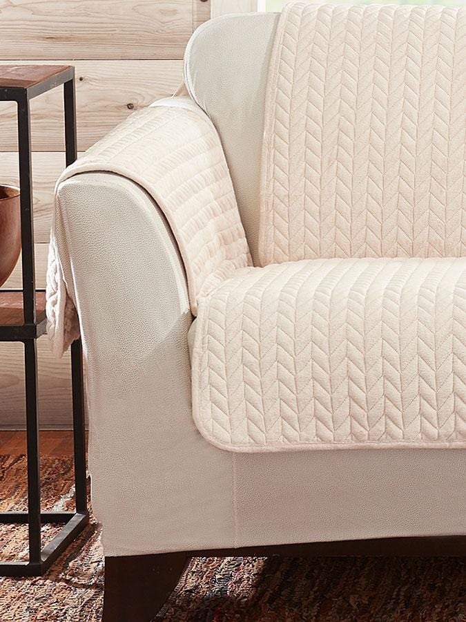 Quilted Cable Sherpa Loveseat Furniture Cover Machine
