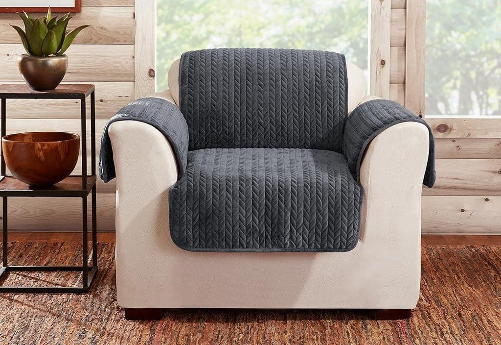 Quilted Cable/Sherpa Chair Furniture Cover 100% Polyester Pet Furniture Cover Machine Washable - Chair / Storm Blue