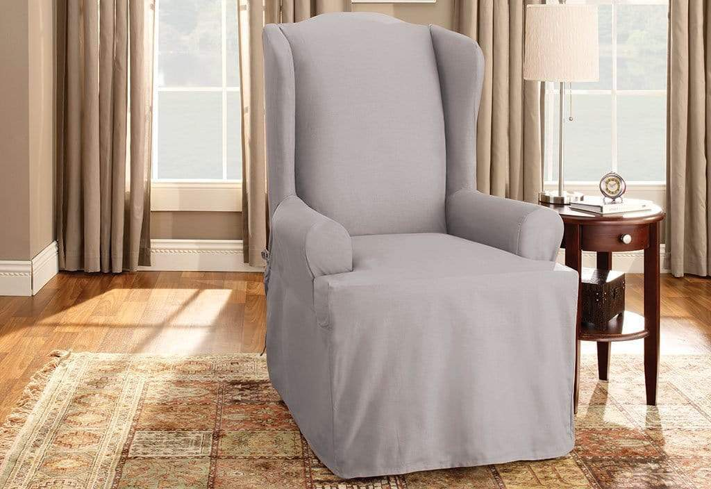 Cotton Duck One Piece Wing Chair Slipcover | 100% Cotton | Machine Washable