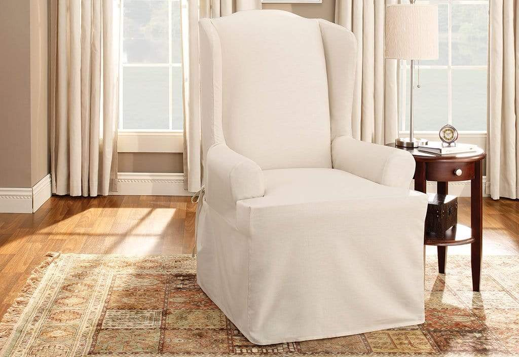 Cotton Duck One Piece Wing Chair Slipcover | Relaxed Fit | 100% Cotton | Machine Washable