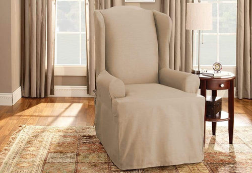 Cotton Duck One Piece Wing Chair Slipcover Tan