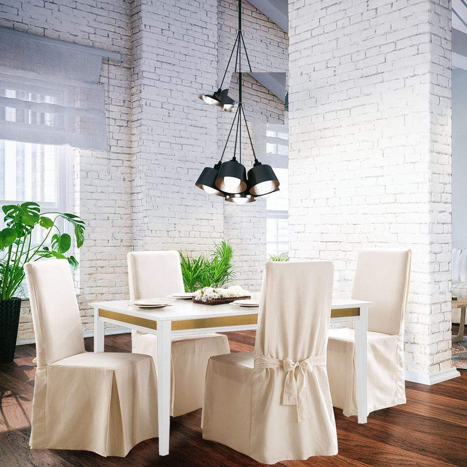 Admirable Cotton Duck Long Dining Chair Slipcover One Piece 100 Cotton Machine Washable Cjindustries Chair Design For Home Cjindustriesco