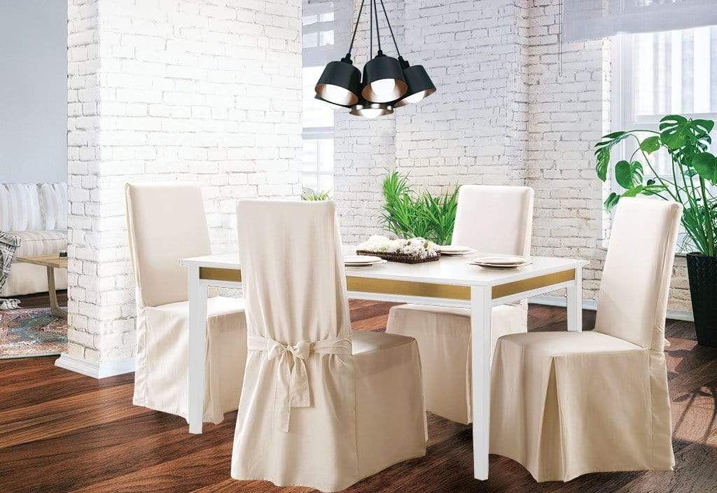 Stupendous Cotton Duck Long Dining Chair Slipcover One Piece 100 Cotton Machine Washable Cjindustries Chair Design For Home Cjindustriesco