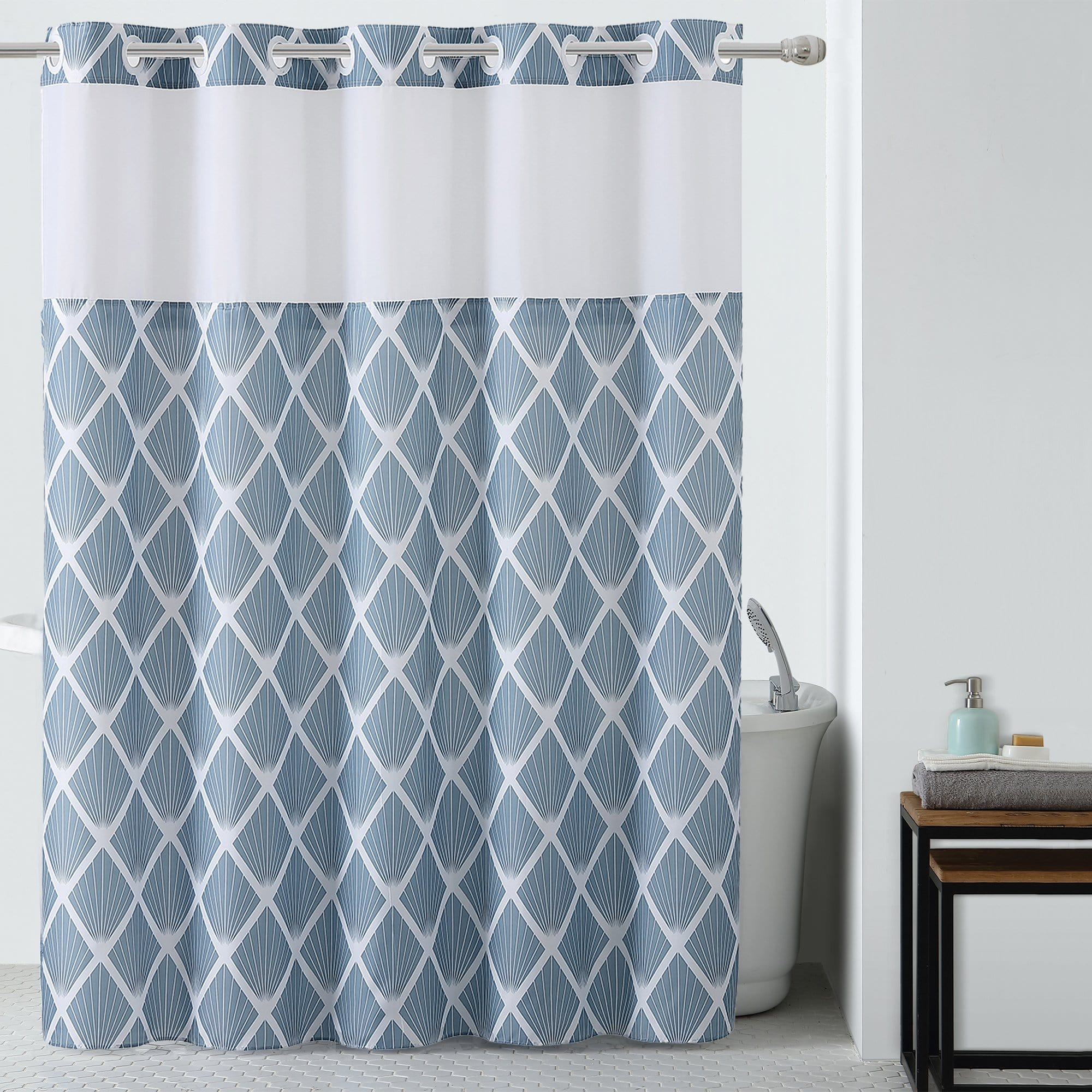Diamond Hookless® Shower Curtain Includes Snap On/Off Replaceable Liner - Blue