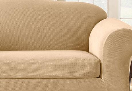 Stretch Pique Two Piece Sofa Slipcover | Form Fit | Waffle-Knit Pattern |  Machine Washable