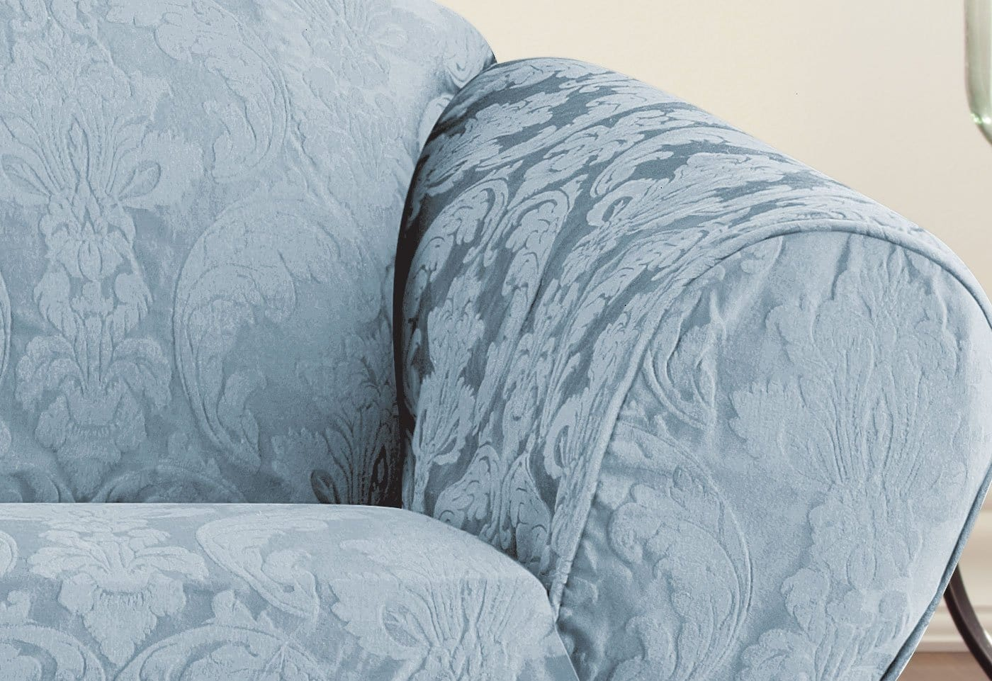 ... Matelasse Damask One Piece Sofa Slipcover