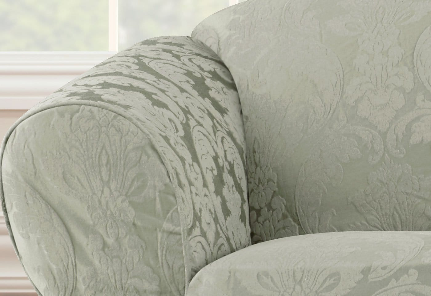 ... Matelasse Damask One Piece Sofa Slipcover ...