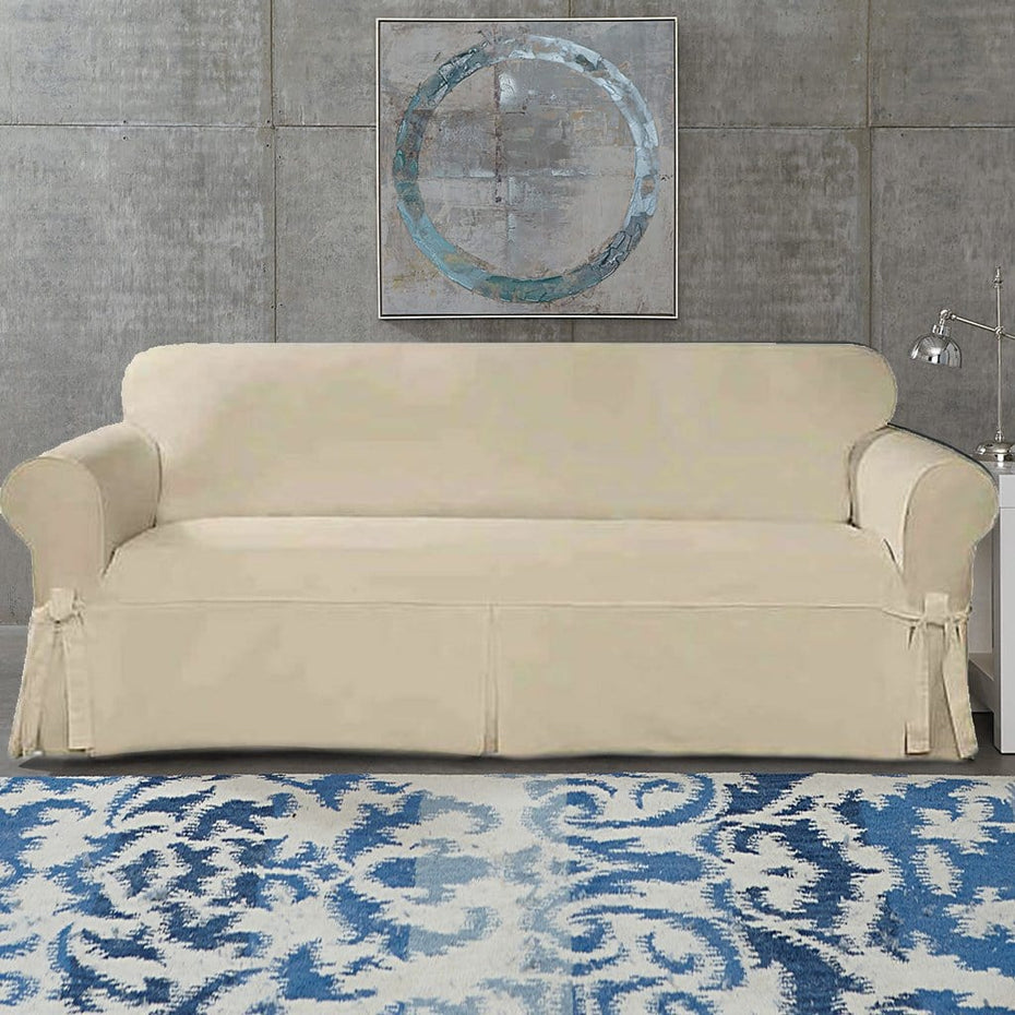 Designer Twill Sofa Slipcover | Corner Ties | 100% Cotton | Machine Washable