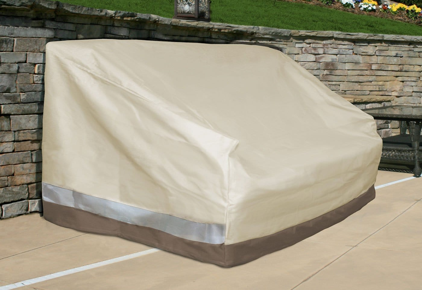 Patio Armor Bench Outdoor Furniture Cover - Taupe / Taupe