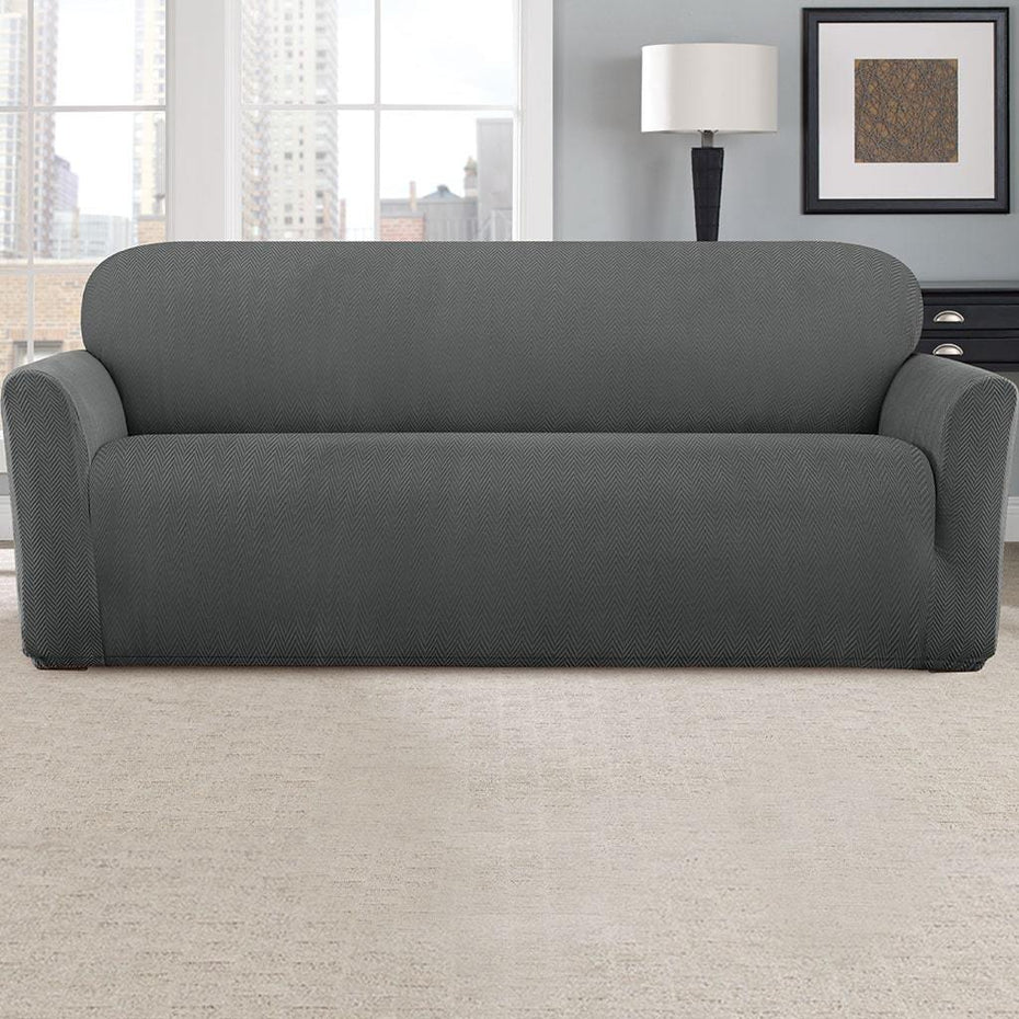 Stretch Modern Chevron Sofa Slipcover | Form Fit | Machine Washable