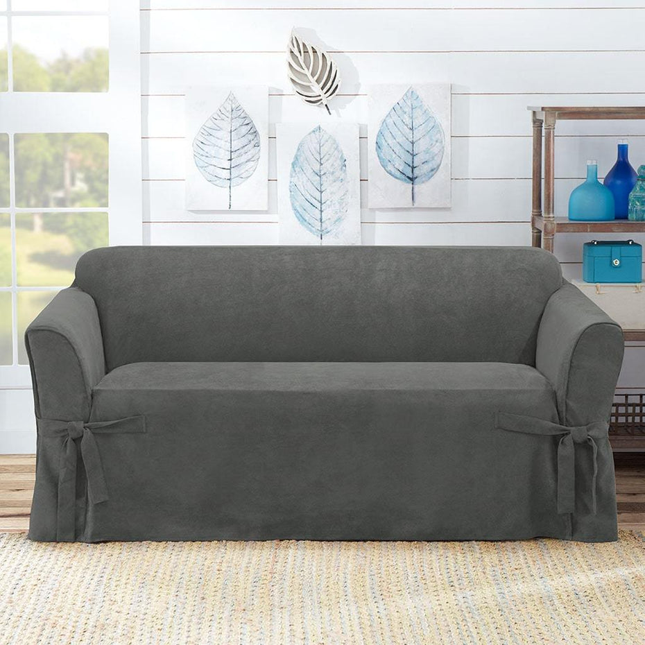 Sueded Twill Loveseat Slipcover | Relaxed Fit | 100% Polyester | Machine Washable