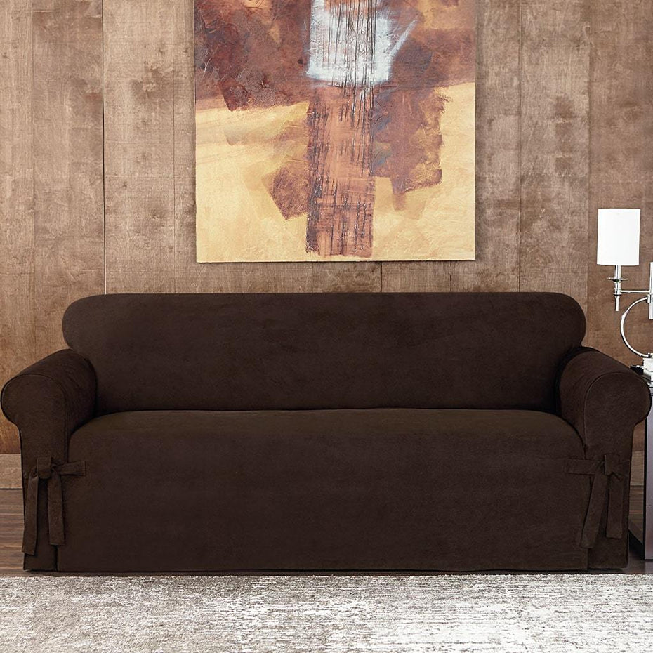 Sueded Twill Sofa Slipcover | Relaxed Fit | 100% Polyester | Machine Washable
