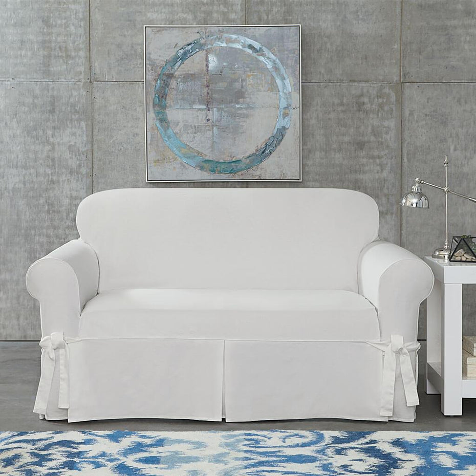 Amazing Designer Twill Loveseat Slipcover One Piece Relaxed Fit Gamerscity Chair Design For Home Gamerscityorg