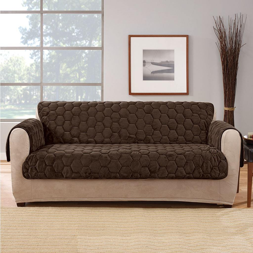 Silky Touch Loveseat Furniture Cover 100% Polyester Pet Furniture Cover Machine Washable - Chocolate