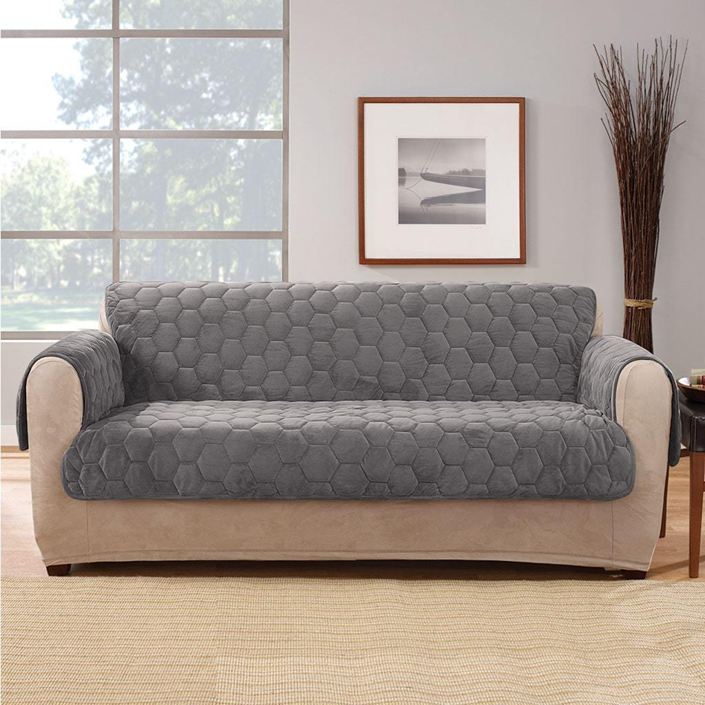 Silky Touch Loveseat Furniture Cover 100% Polyester Pet Furniture Cover Machine Washable - Dark Gray