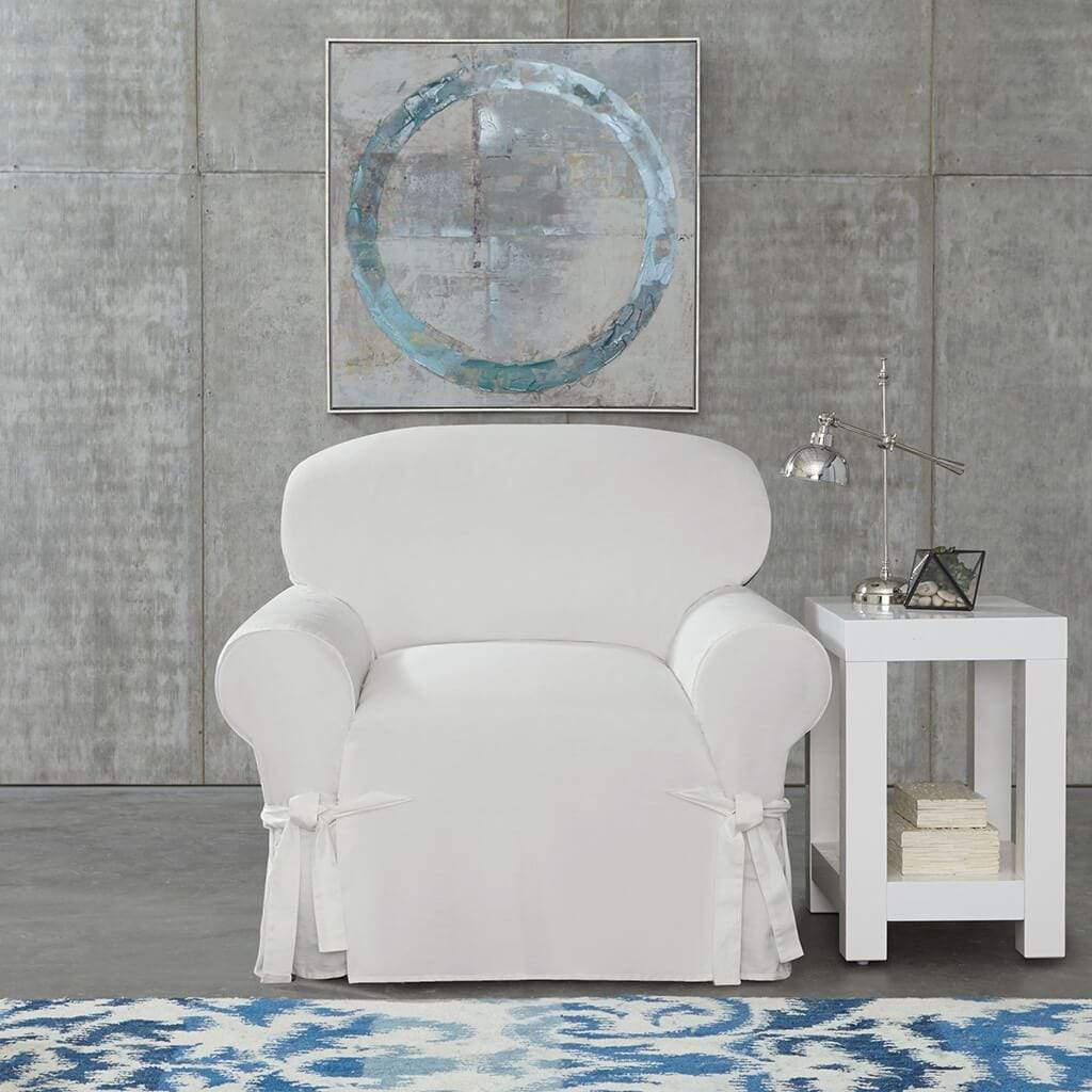 Cotton Duck Chair Slipcover Relaxed Fit 100 Cotton