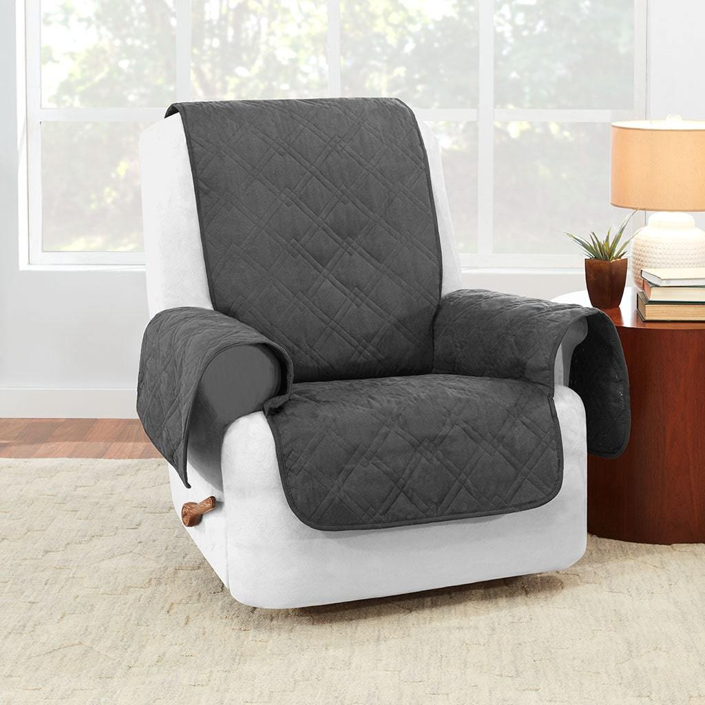 Waterproof Recliner Cover 100% Polyester Pet Furniture Cover Machine Washable - Gray