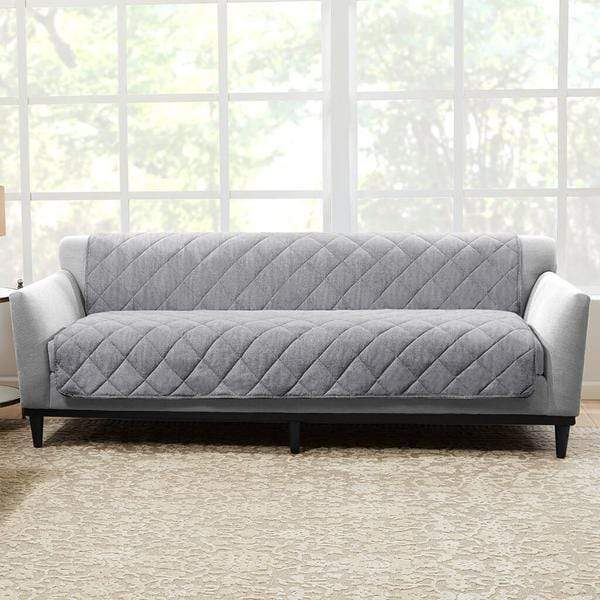 Brushed Linen Sofa Furniture Cover Pet Furniture Cover 100% Polyester Machine Washable - Gray
