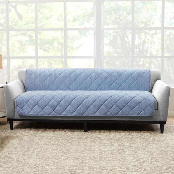 Brushed Linen Sofa Furniture Cover Pet Furniture Cover 100% Polyester Machine Washable - Chambray