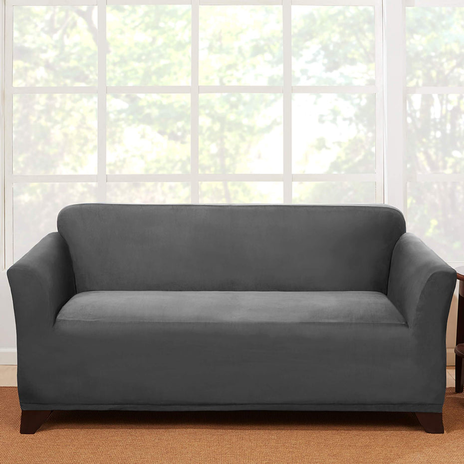 Stretch Suede Loveseat Slipcover | One Piece | Form Fit | Box Cushion | Machine Washable